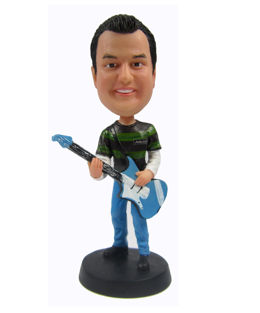 Custom male bobblehead with guitar 2155