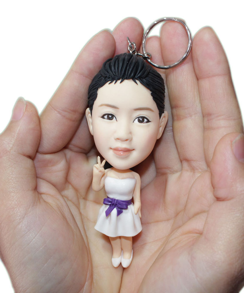 Custom Key Chain bobblehead Doll Made Look Like You 230