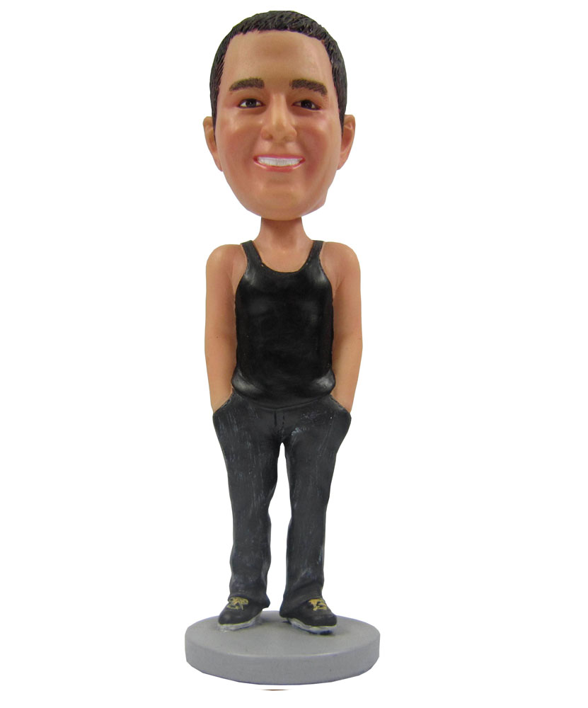Casual male with black top bobbleheads sale B234-1