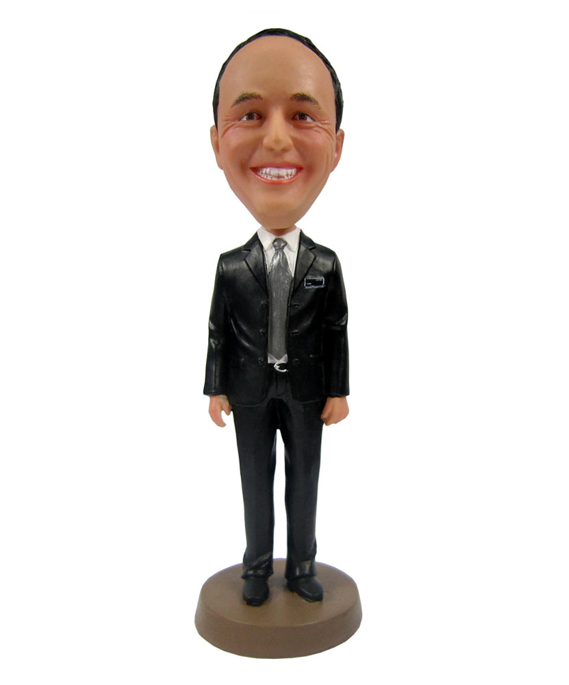 Black Suit Businessman Bobblehead Doll B244