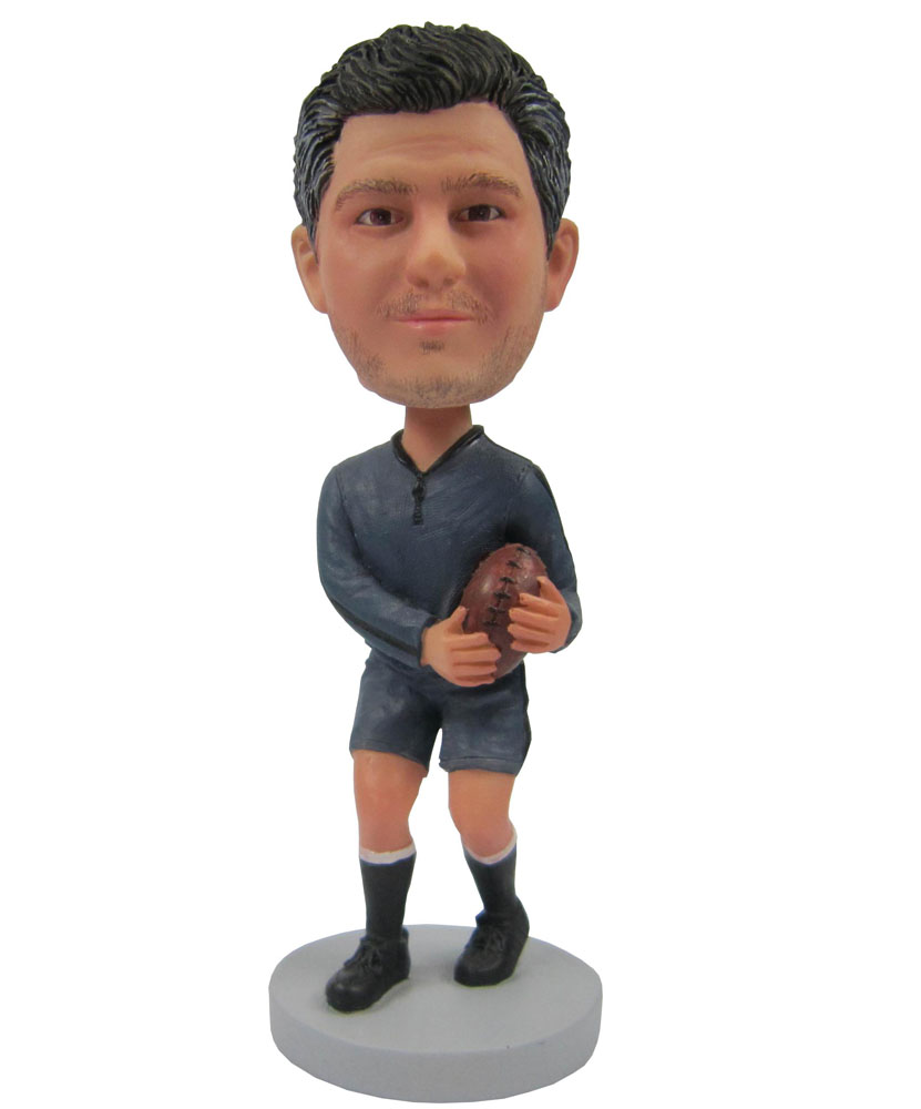 Football Player In Gray Bobblehead Customized B249