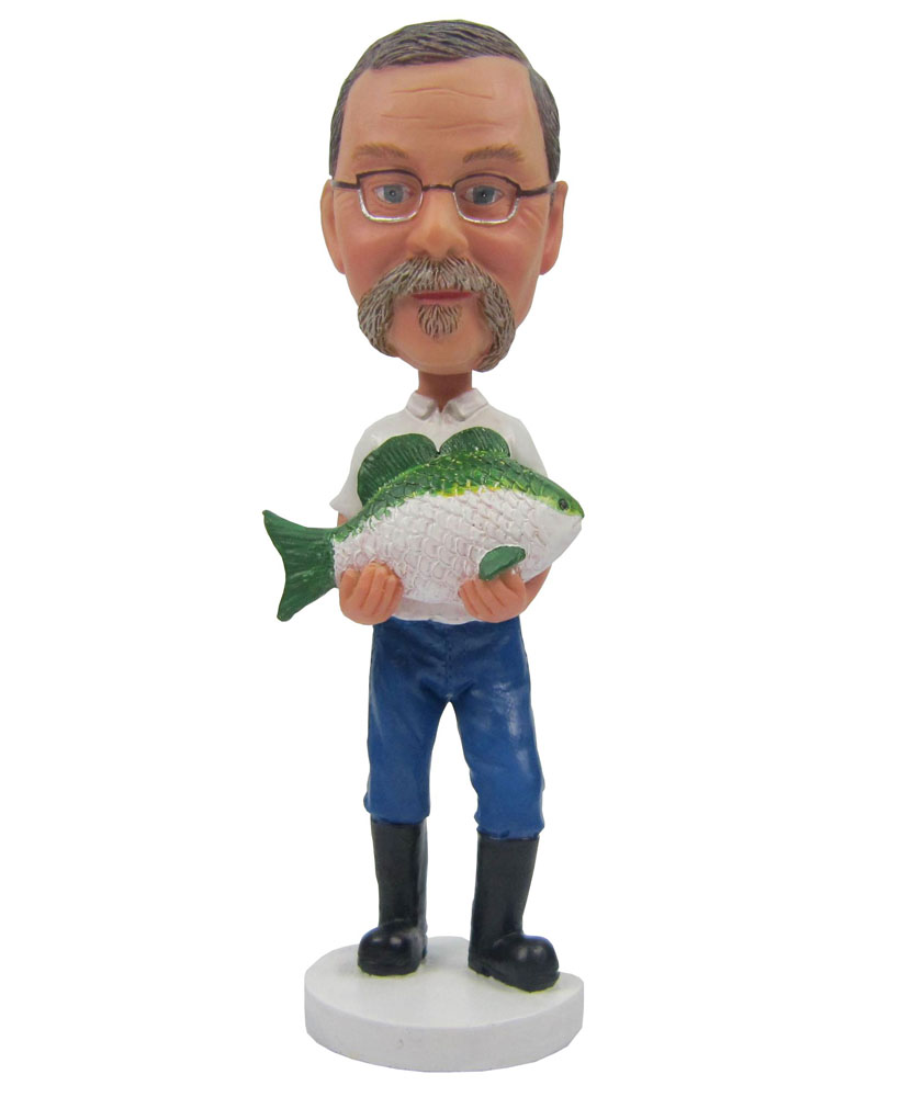 Fisherman With Boots and Fish Personalized Bobblehead