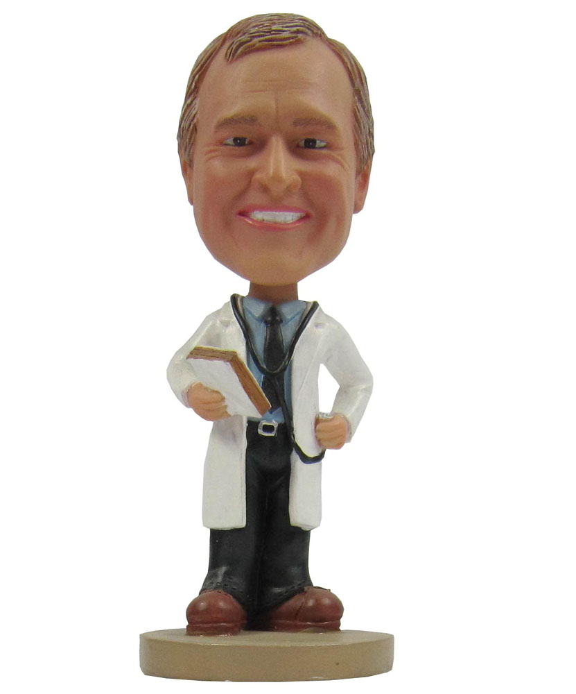 Bobbleheads Store:Doctor In Long Coat With Stethoscope