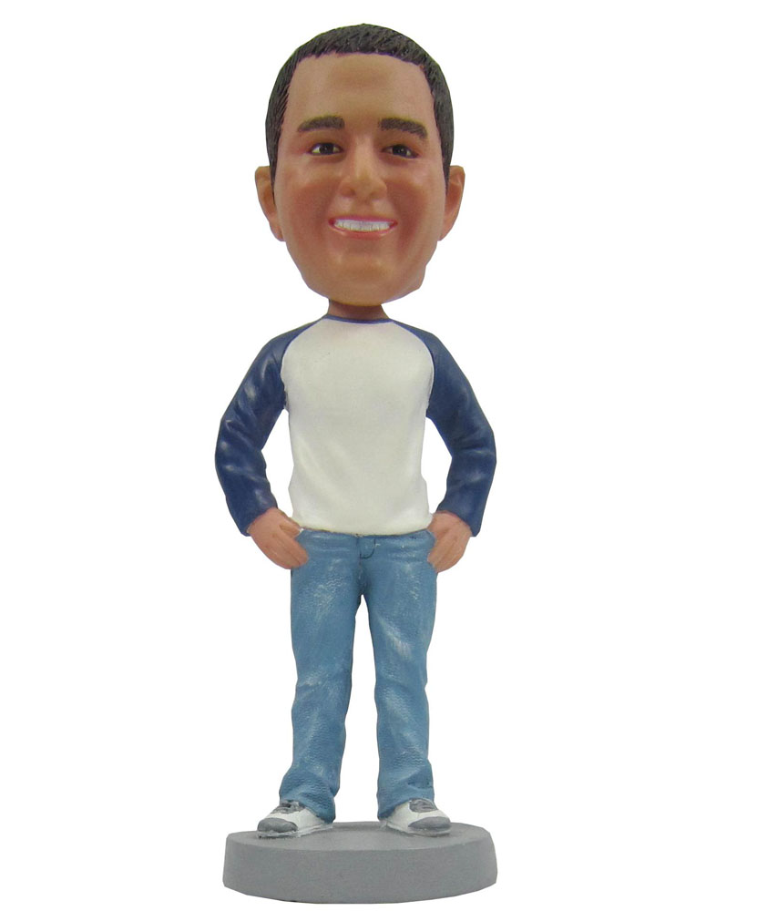Custom Bobbleheads: Casual Man Hand in Twist B263