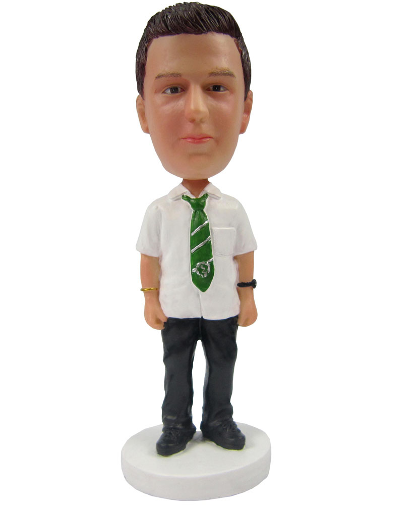 Bobblehead Personalized White Shirt with Green Tie