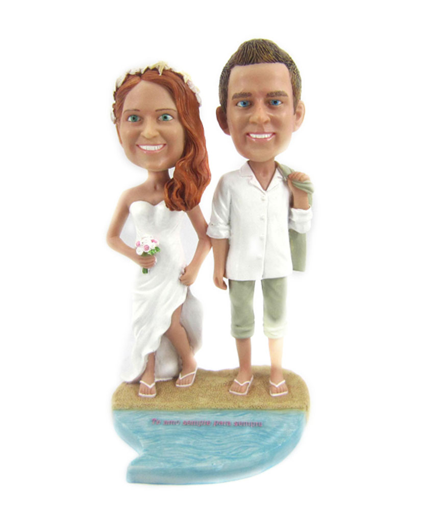 Custom Wedding Bobbleheads Casual Bride and Groom