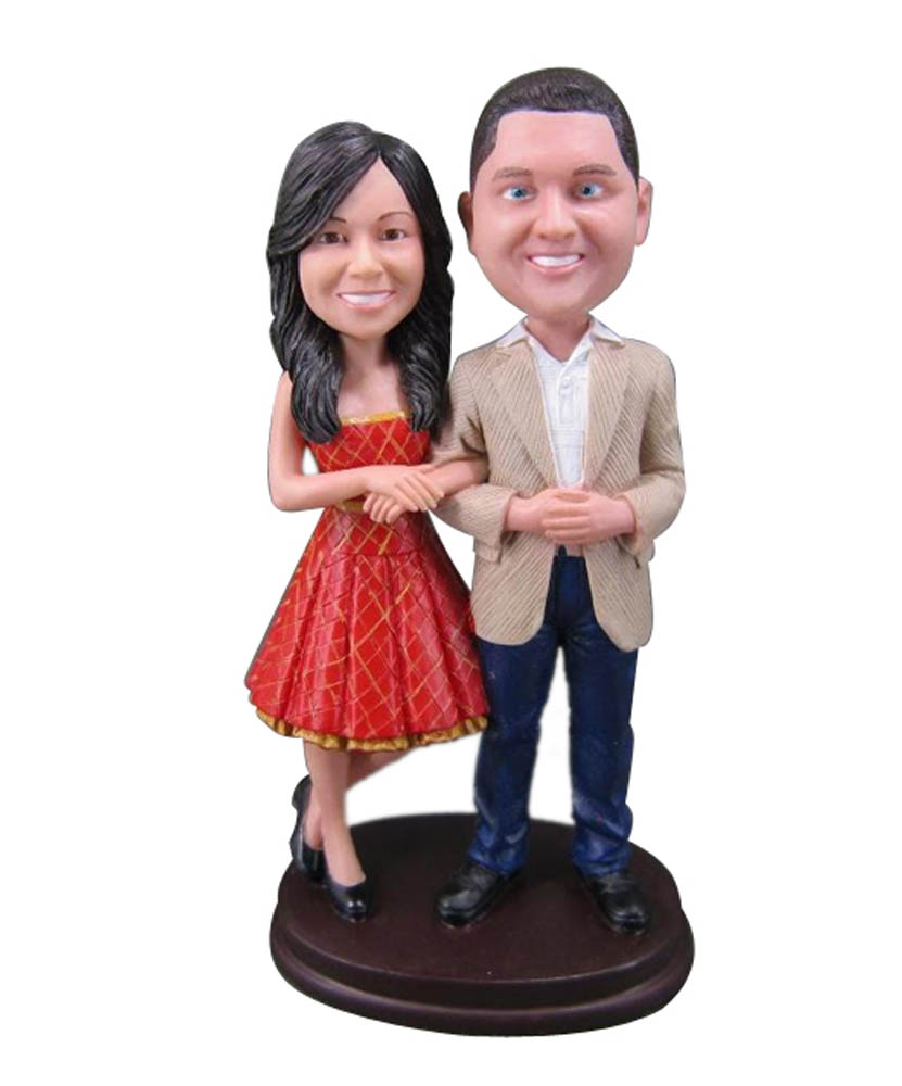 Hand in Hnad Bobblehead Wedding Cake Toppers W006