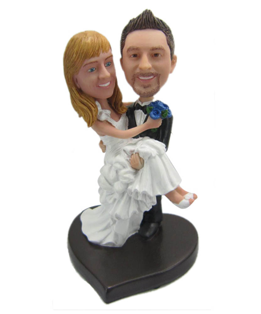 Holding The Bride Wedding Custom Bobble Head Dolls