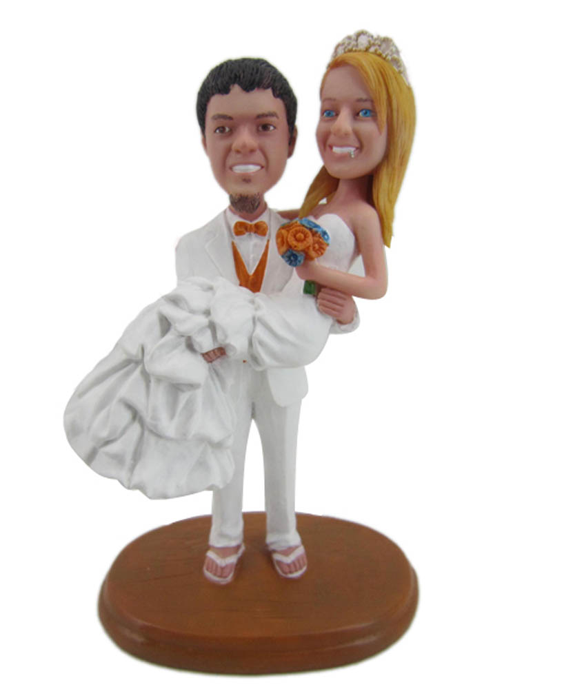 Carry the Bride Bobblehead Wedding Cake Toppers