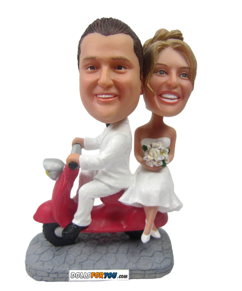 Wedding Bobbleheads Riding Red Motor W0010