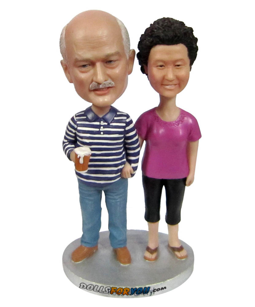 father and mother wedding anniversary casual bobblehads