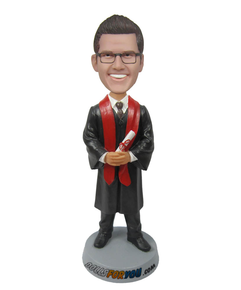 male graduate with diploma custom bobblehead doll