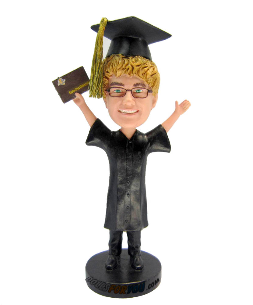 Custom Bobblehead Happy Male Hand Up Degree