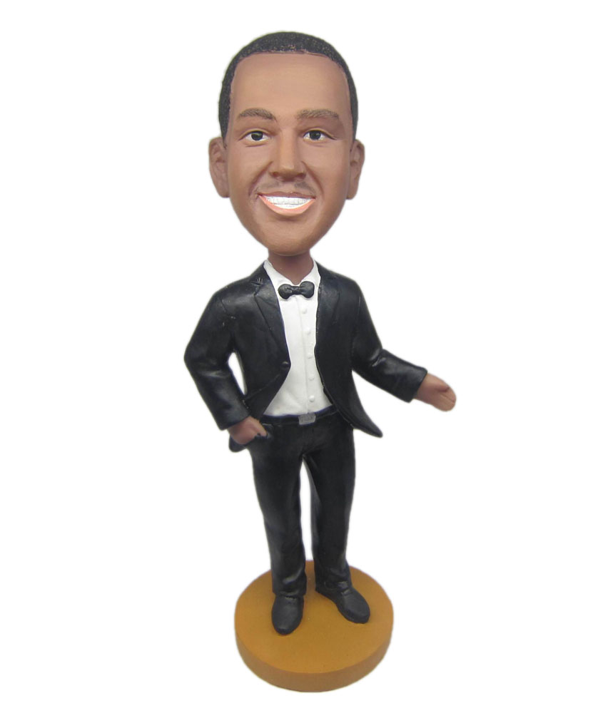 Customizable bobbleheads groomsman with bow tie