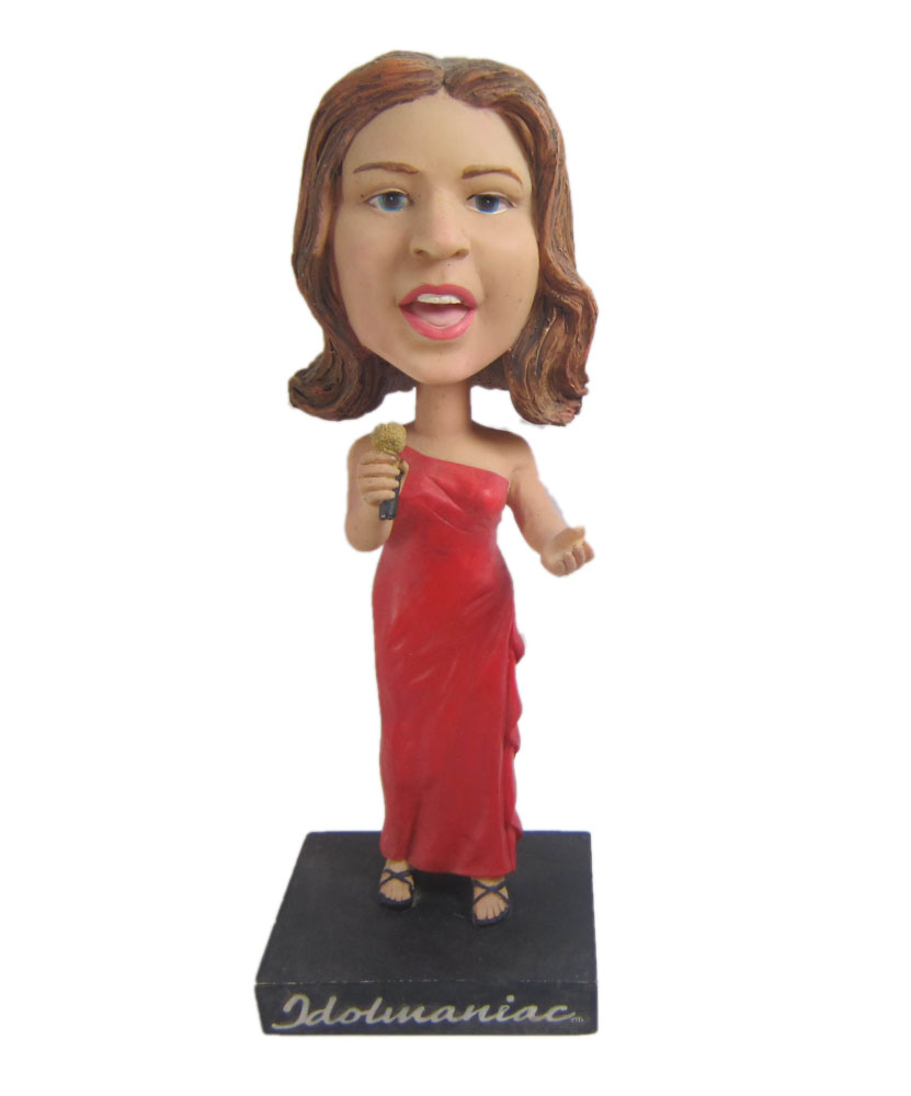 Custom bobblehead dolls Female Singer In Red Dress