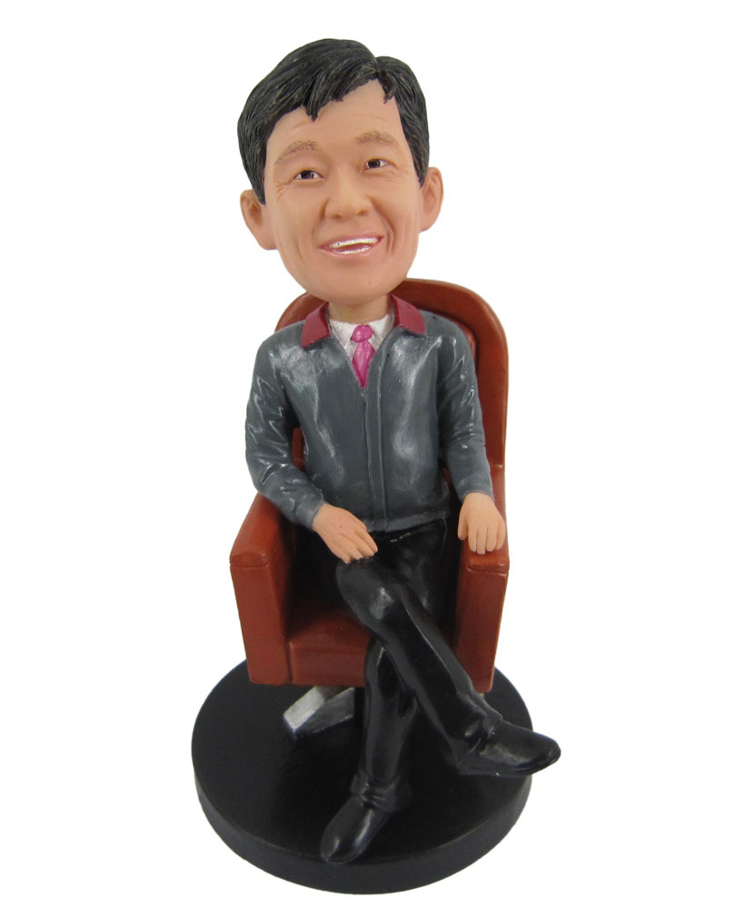 Custom Bobblehead Male Sitting on Office Chair B298-1