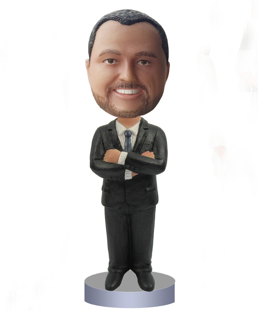 Groomsmen bobbleheads arms crossed black suit B233