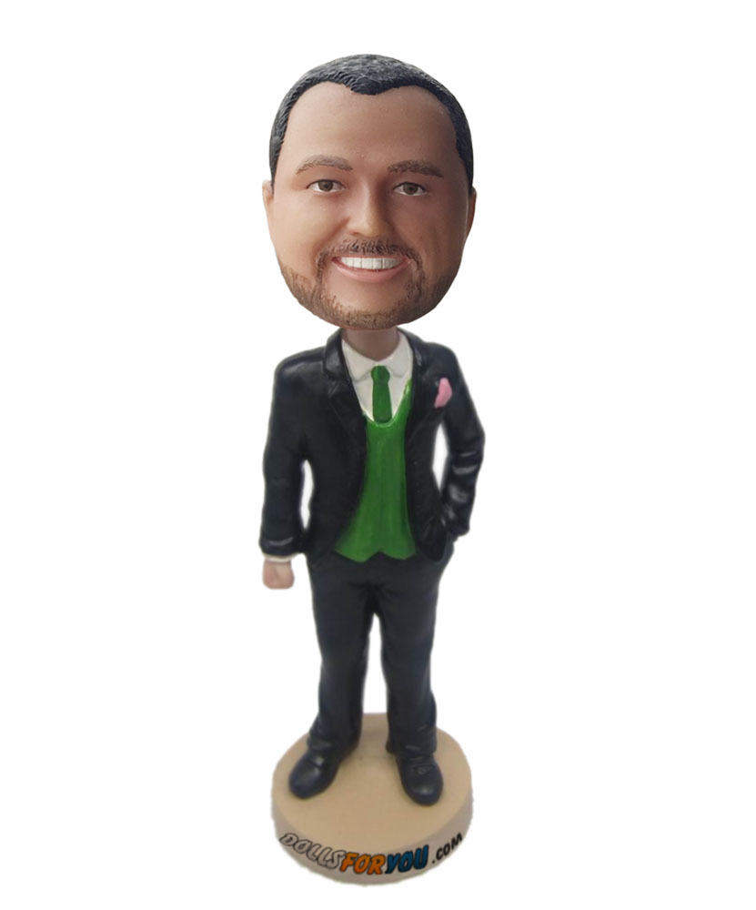 Male in suit with a green tie groomsmen bobbleheads