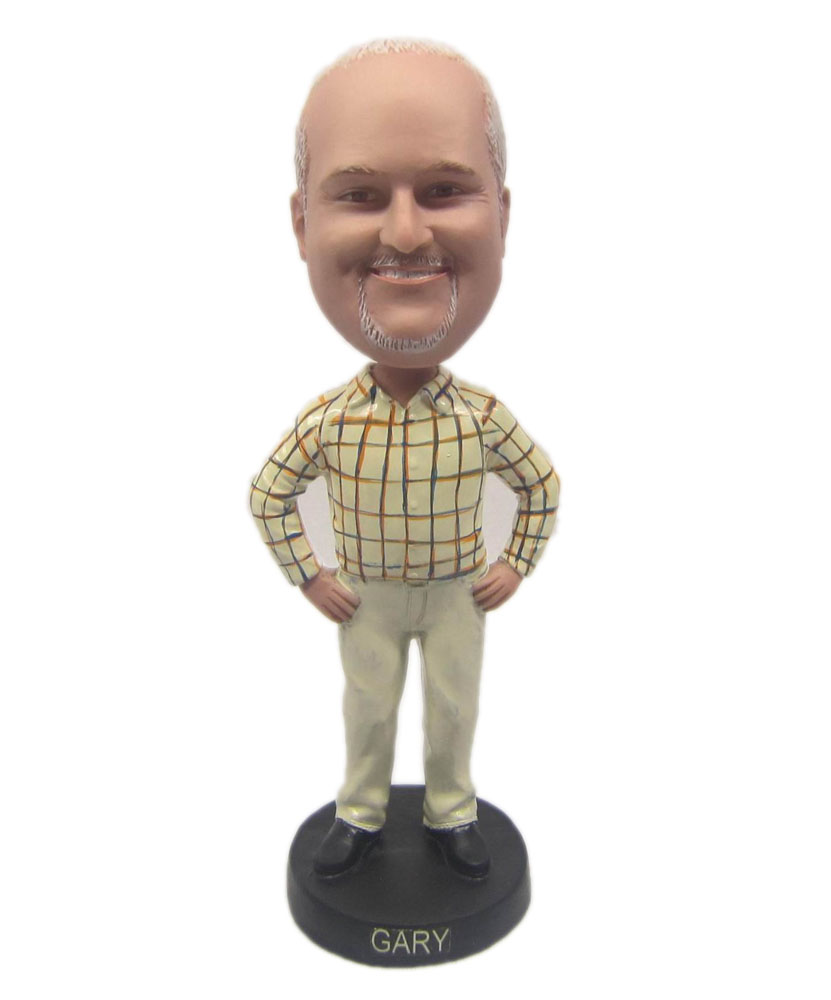Unique bobbleheads man in plaid shirt & khakis B235-1