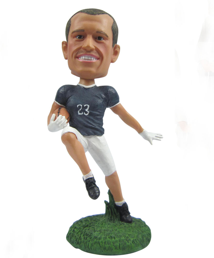 polymer clay dolls of male rubgy player G043
