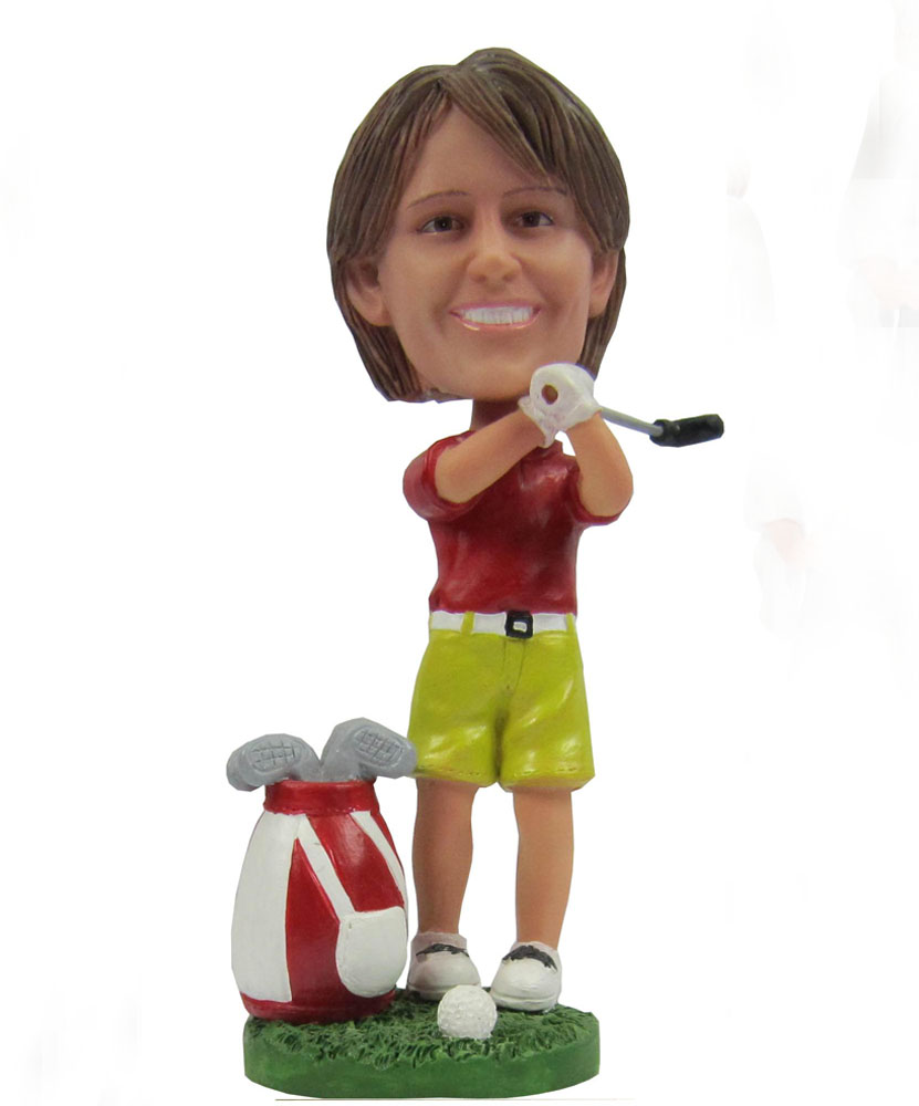 golf bobbleheads dressed in red shirt and green jams G056