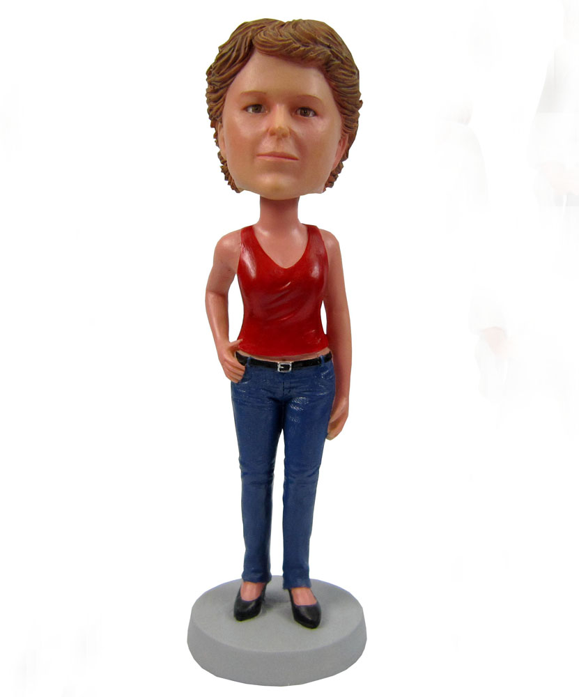 personalized bobbleheads doll dressed in red vest and jeans G061