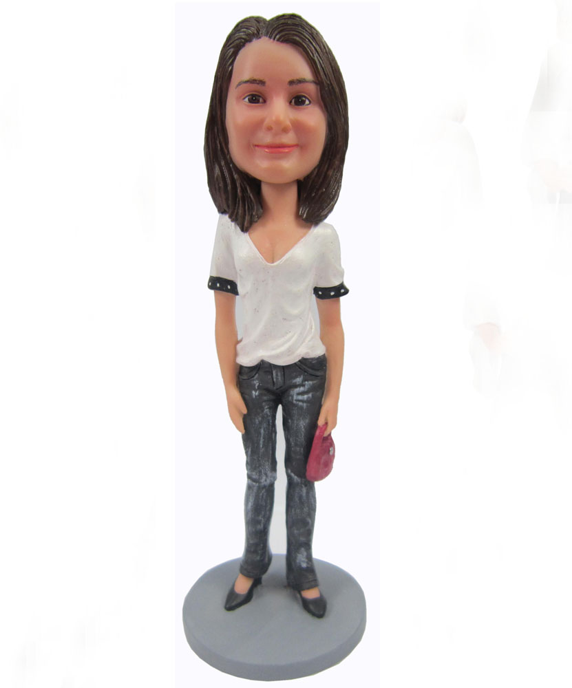 Female personalized bobbleheads with white shirt and jeans G067
