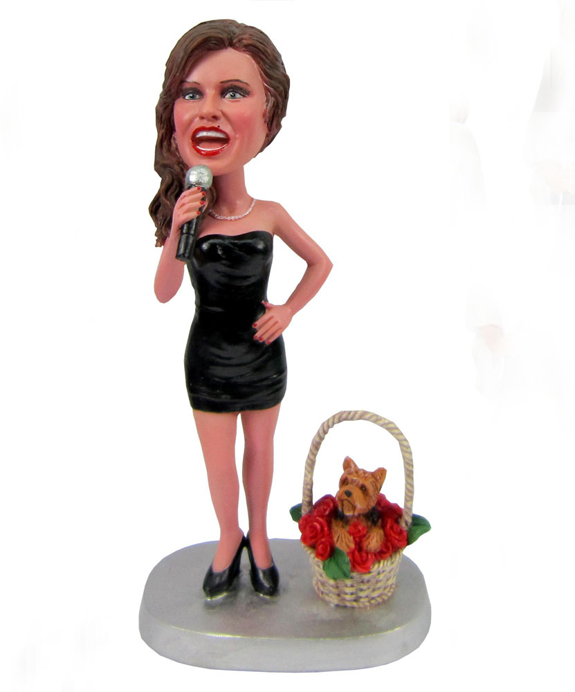 Custom made bobbleheads of female singer G068