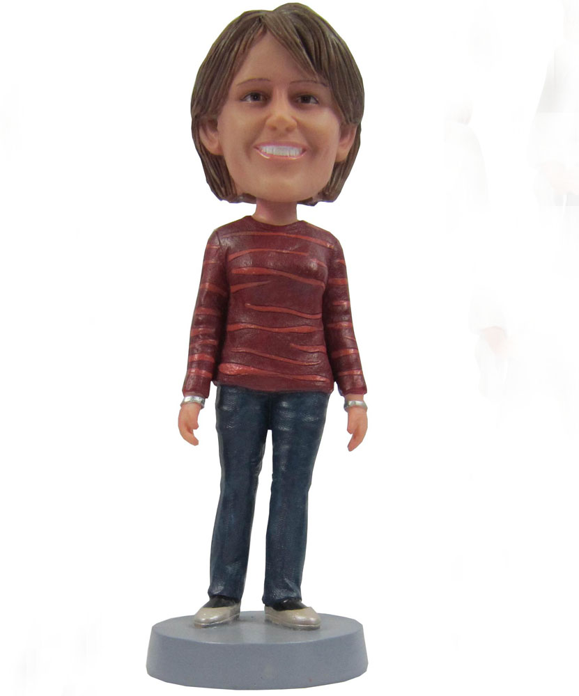 Make your own bobblehead with simple coat and jeans G081