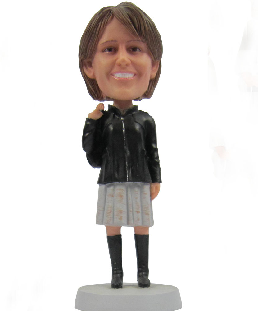 Custom bobblehead dolls with black leather jacket and gray skirt G094