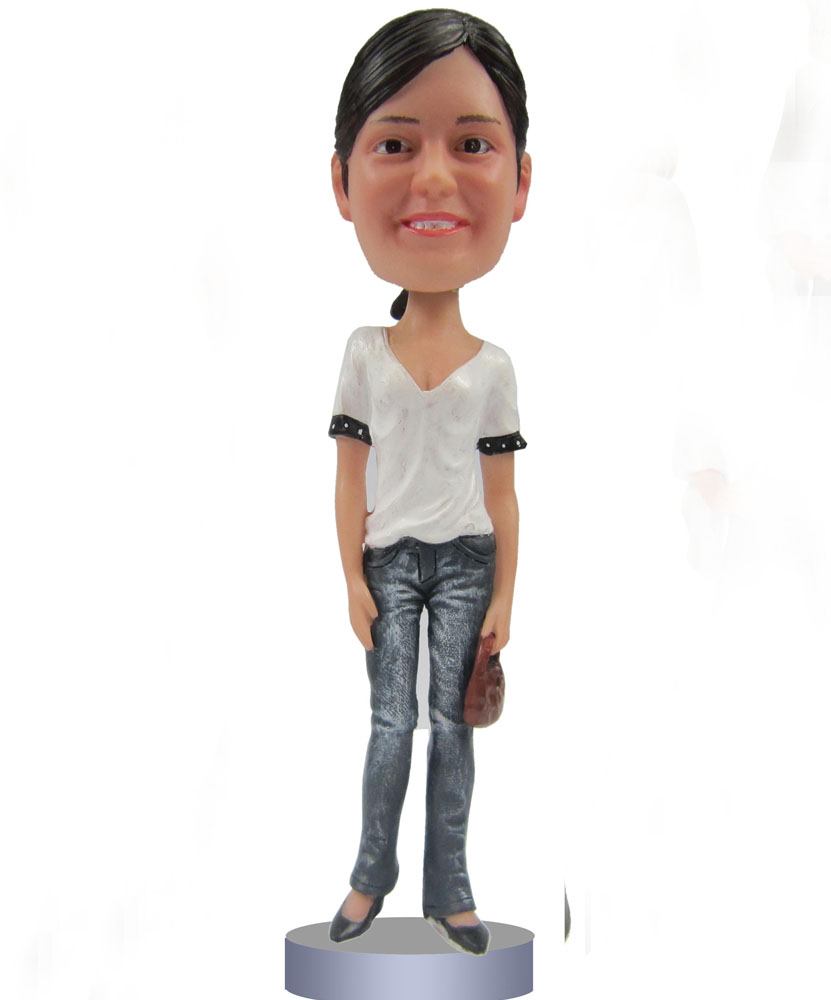 Custom bobblehead with white shirt and jeans G096