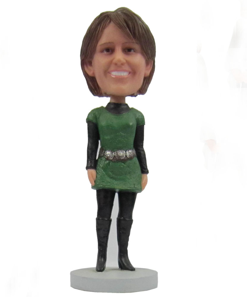 Collectible bobbleheads with dark green skirt and black jeans G102
