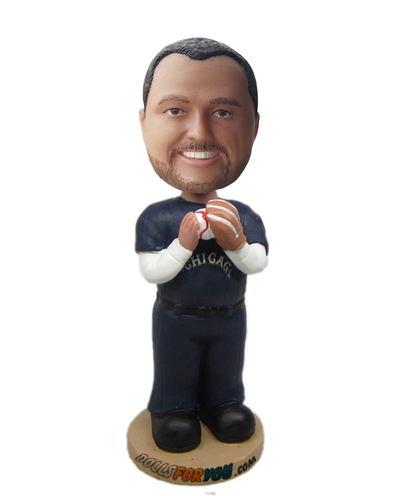 Custom bobbleheads holding a ball on hands