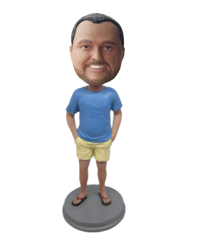 Personal bobbleheads online with blue coat and yellow shorts