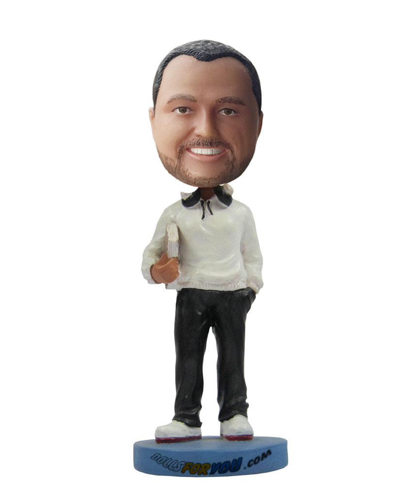 Cheap custom bobble heads with white coat and black trousers