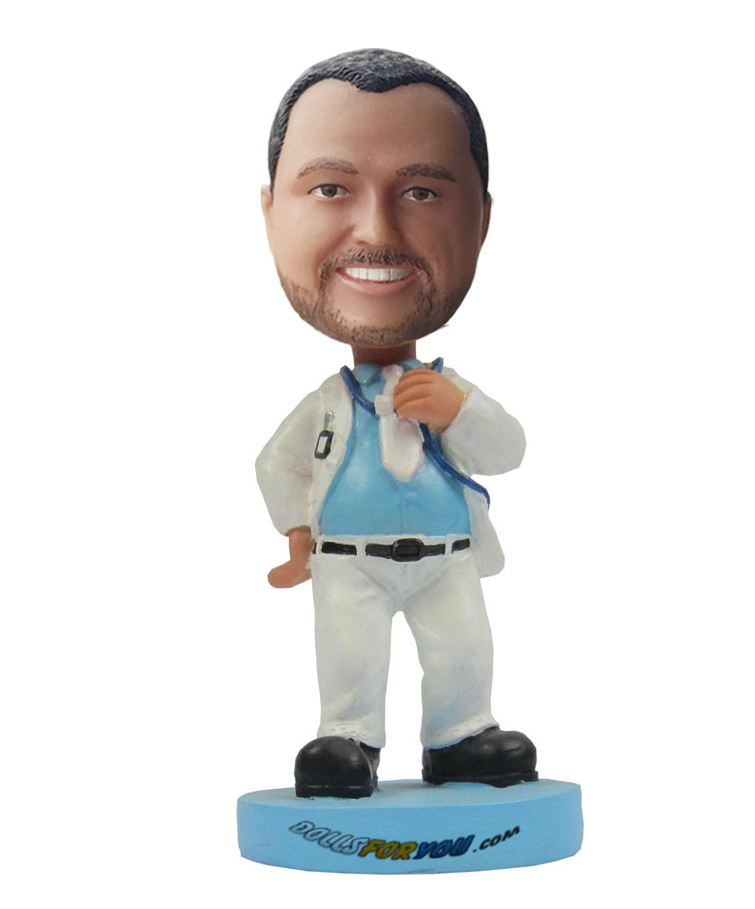 Personalised bobble heads with white coat and trousers