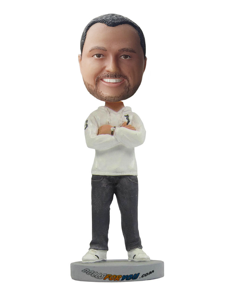 Personal bobble head dressed in white fleece and jeans