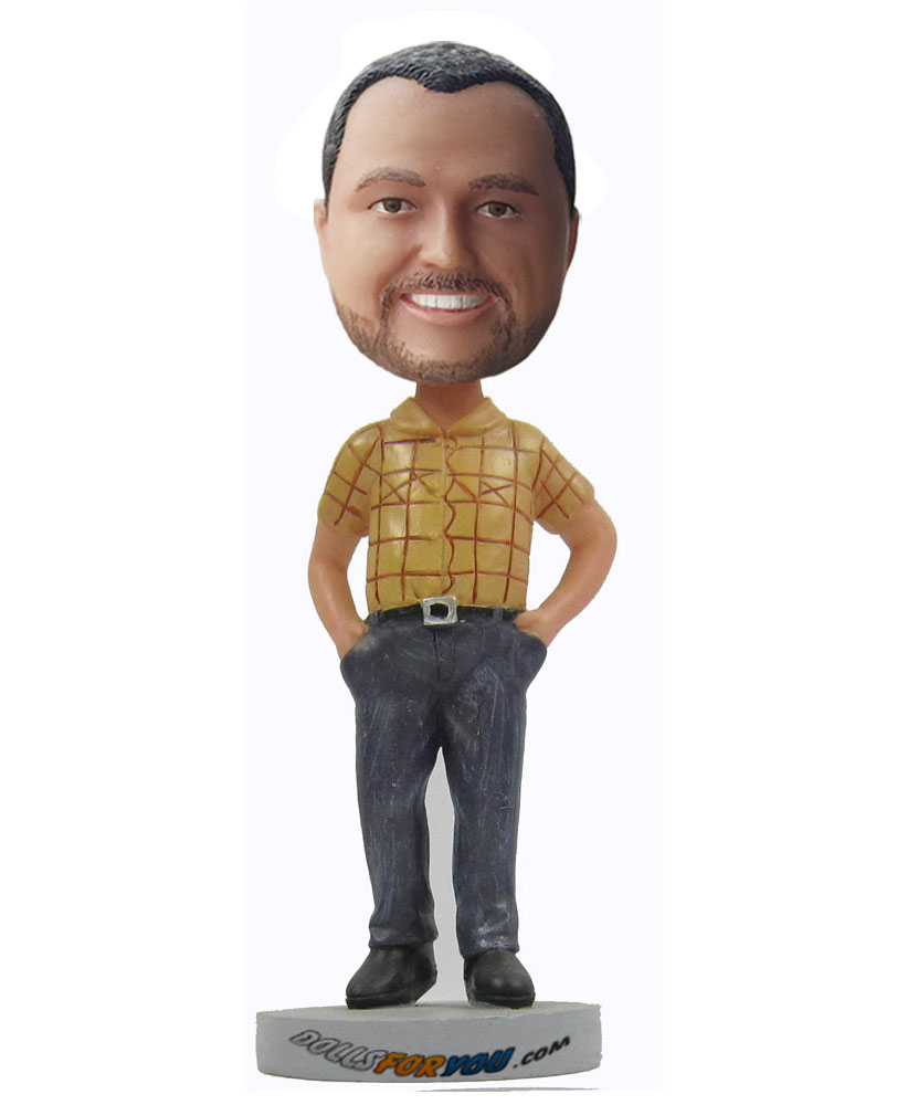 Custom made bobble head dressed in yellow plaid shirt