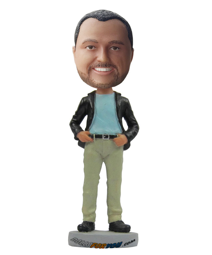 Cheap custom bobbleheads with blue shirt, black coat and black trousers