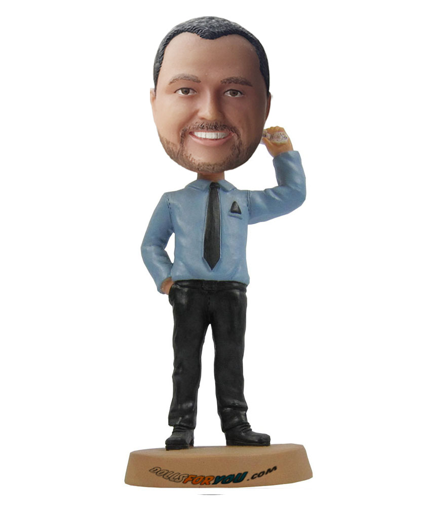 Custom bobblehead dolls with a mobile phone on hand