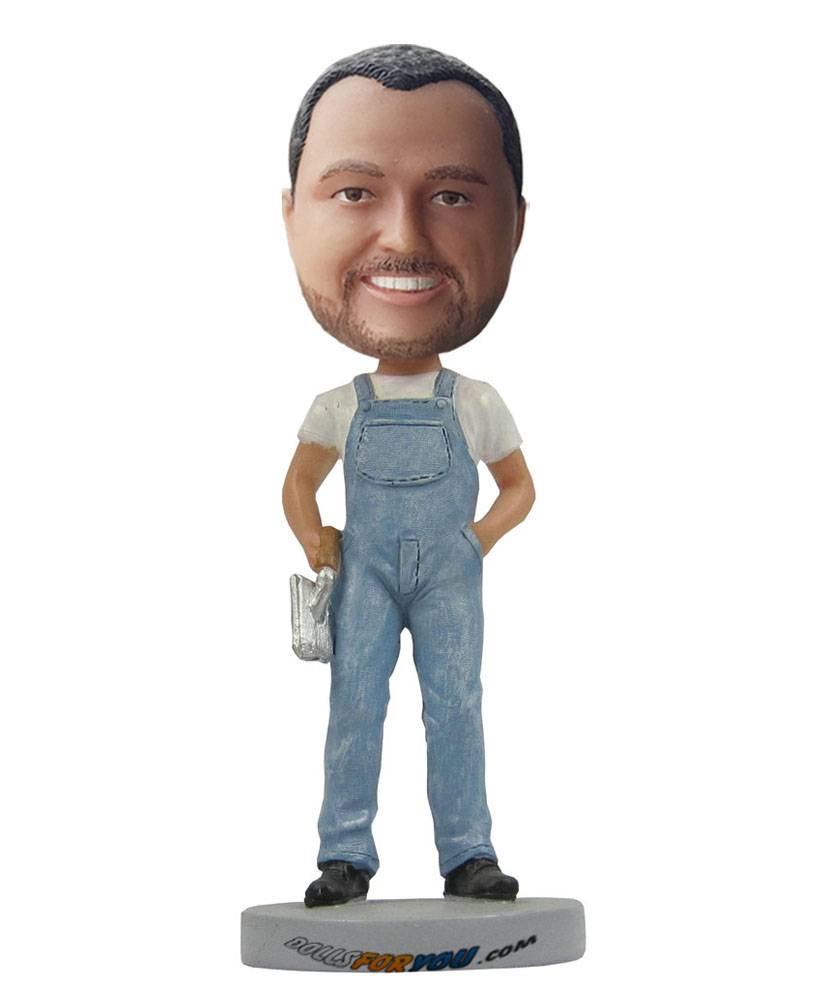 Cheap bobble heads dressed in braces jeans and white shirt