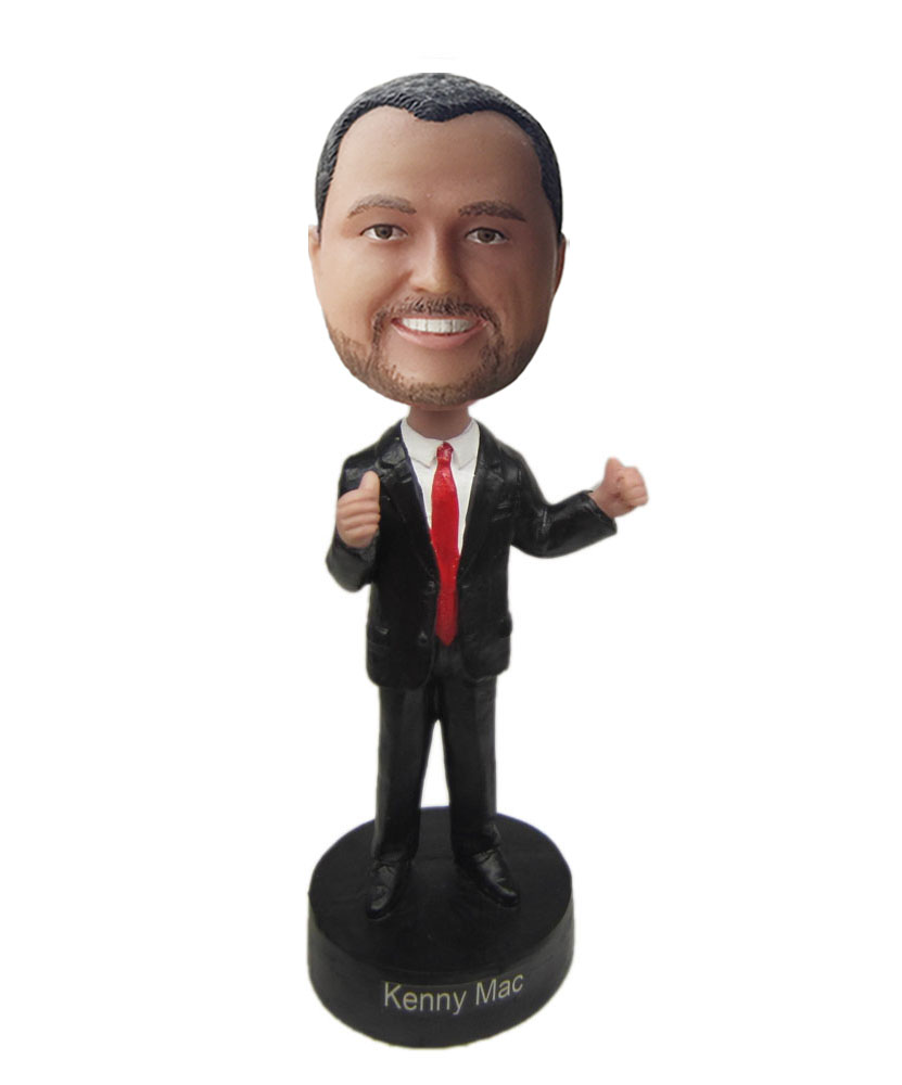 Custom talking bobbleheads with black suit and red tie