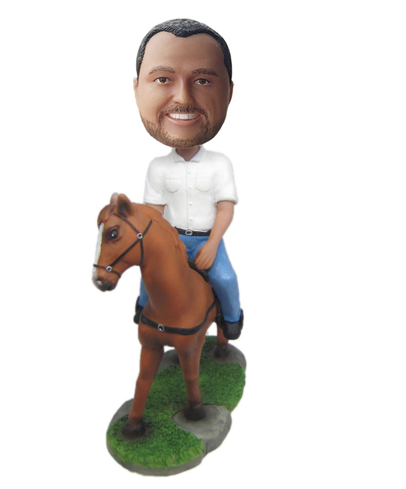 Custom made dolls riding on a horse