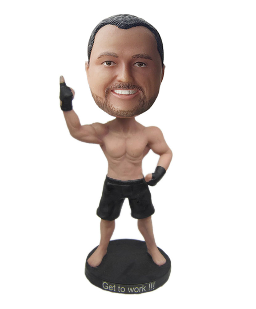 Personalised bobbleheads with black shorts