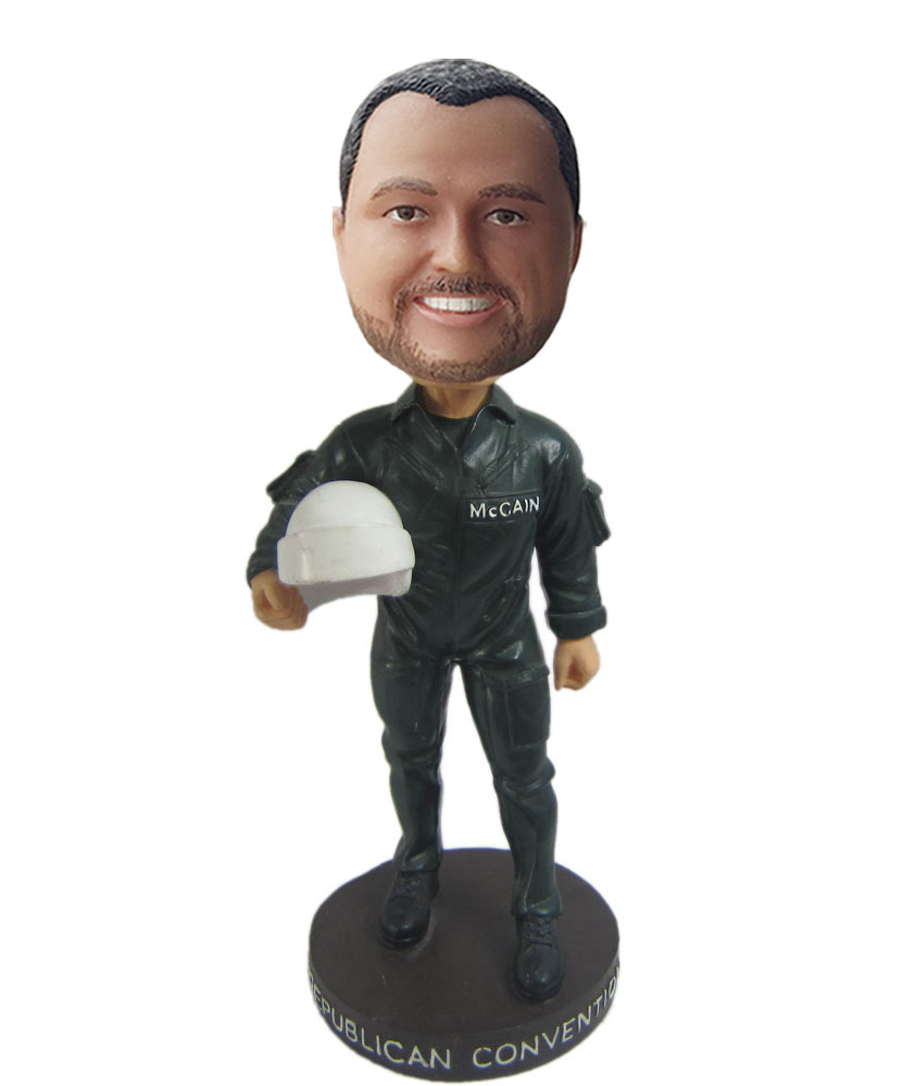 Photo bobble heads with black clothes and white helmet
