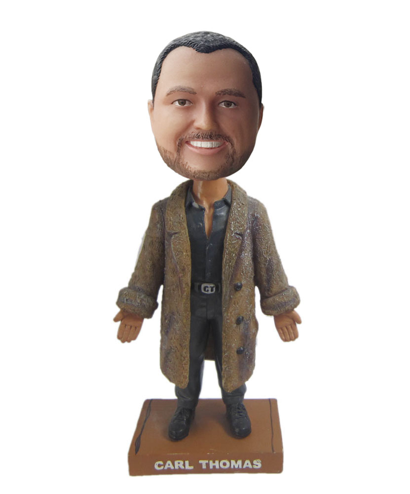 Male bobblehead with blown overcoat