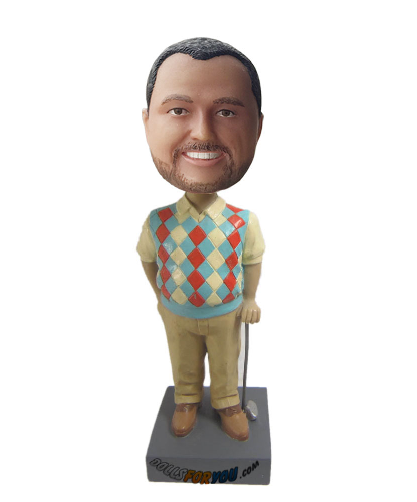 Custom bobble head dolls of male golf player