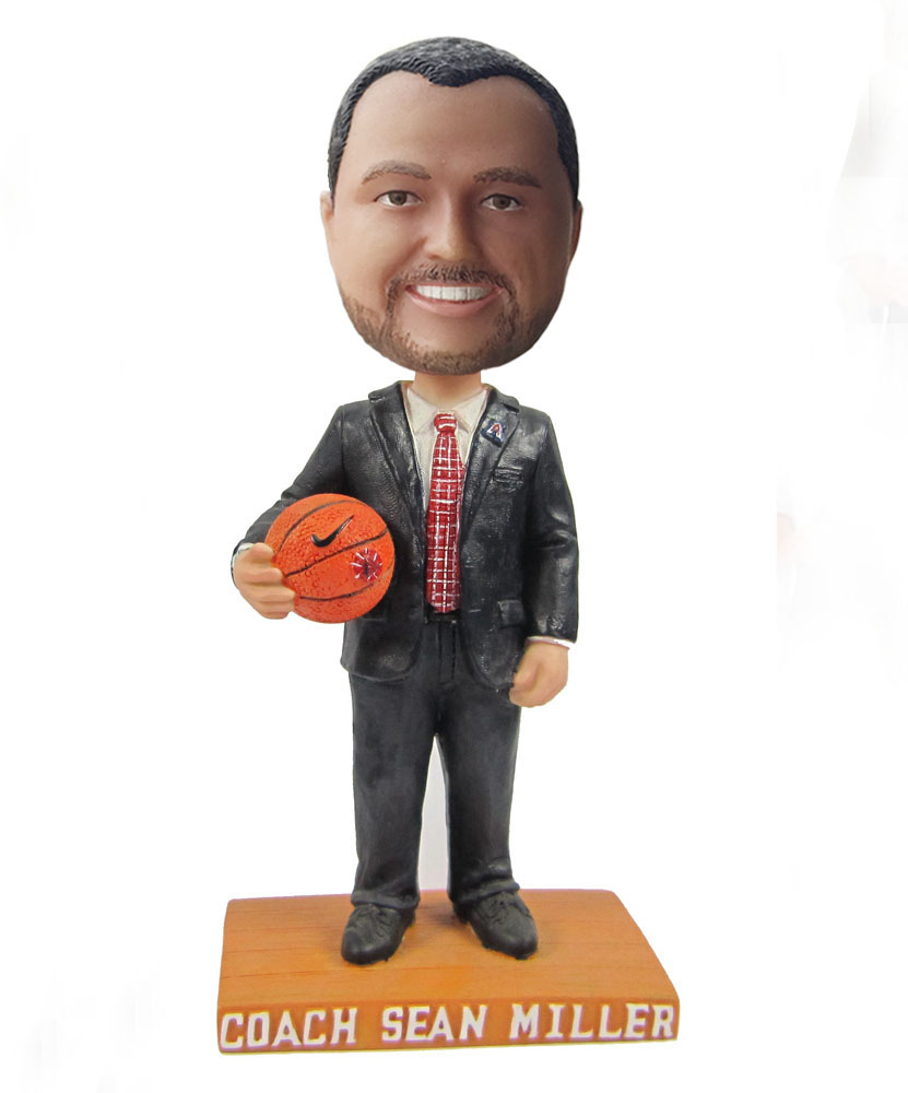 Male basketball coach bobblehead with suit S413