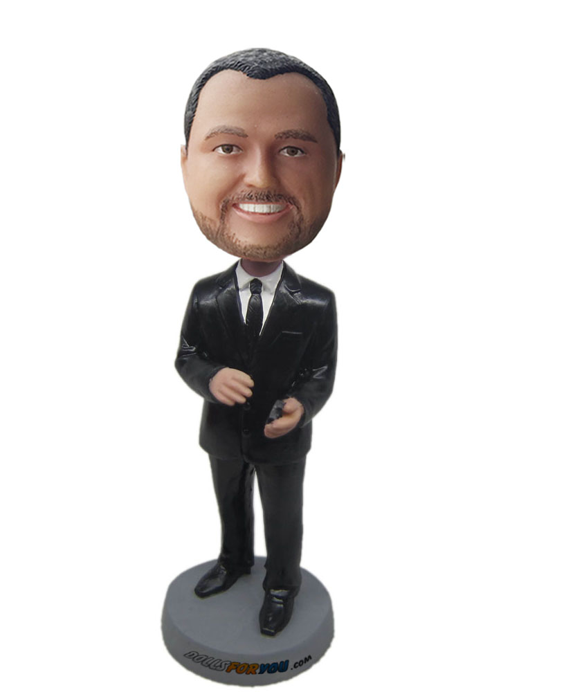 male custom bobblehead doll with black suit G199
