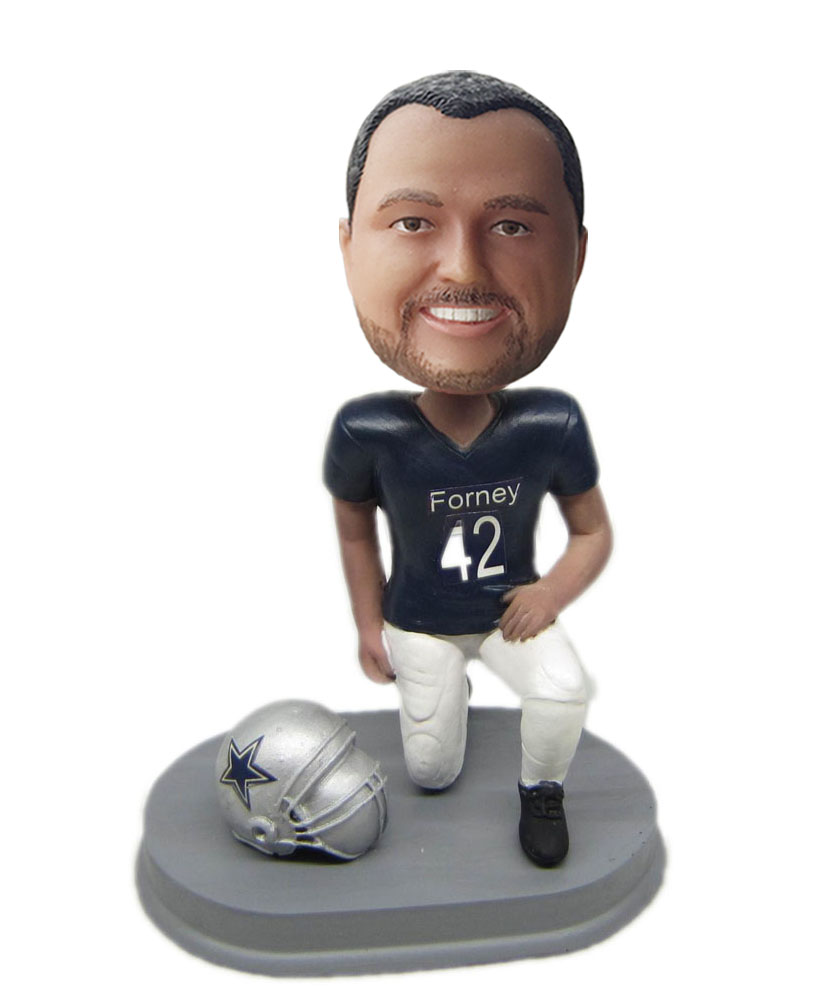 best custom bobblehead with a grey helmet on side G211